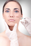 woman having a collagen or botox injection poster