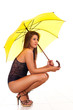 woman in lingerie with umbrella