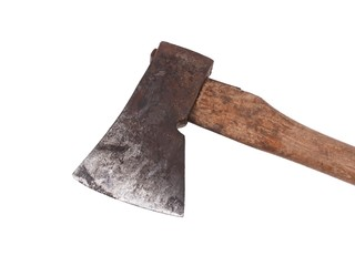 Old and rusty axe isolated on a white background