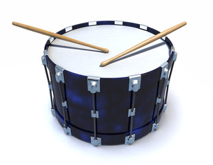 3d Blue snare drum with drumsticks