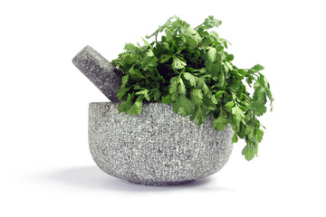 Granite pestle and mortar with coriander, isolated on white.