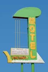 Vintage motel sign on old Route 66