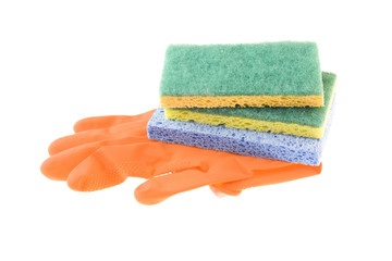 orange gloves and sponges