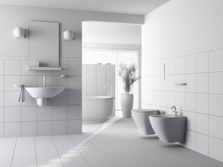 3d clay render of a modern bathroom interior design