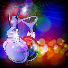 Headphones on color background. Vector illustration
