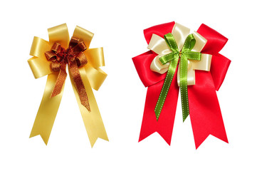 red and yellow satin bow on white background