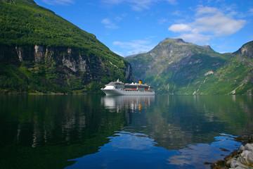 Cruise Ship Geiranger Fjord - Horizontal