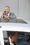 Businessman leaning on car talking on cell phone