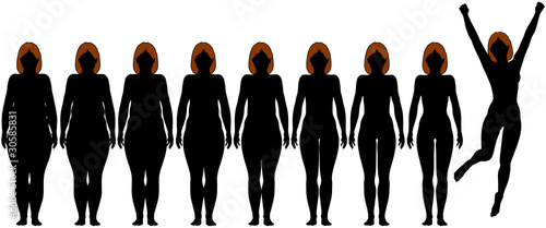 Fat Fit woman diet fitness after weight loss silhouettes