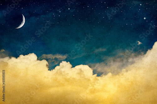 Foto op Canvas Nacht Moon and Cloudscape