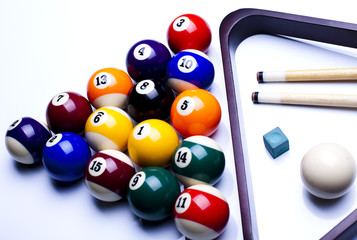 Billiard balls isolate on white