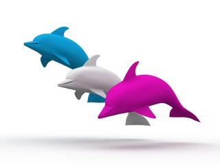 Cute Colored Dolphins