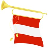 vector illustration bugle with a flag Austria