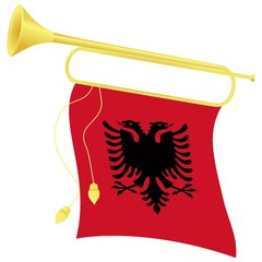 vector illustration bugle with a flag  Albania