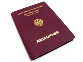 A German passport isolated on a white background