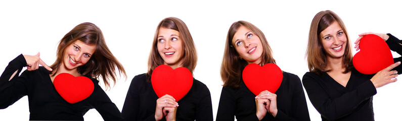 attractive young women holding a red heart over white background