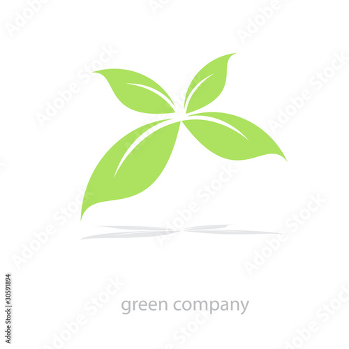 Logo four green leaves # Vector