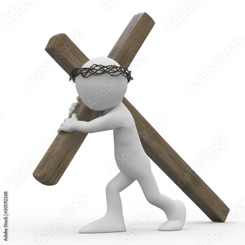 Man dragging a wooden cross with a crown of thorns