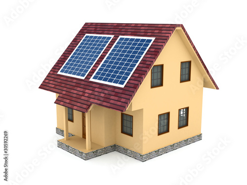 Solar battery over white background