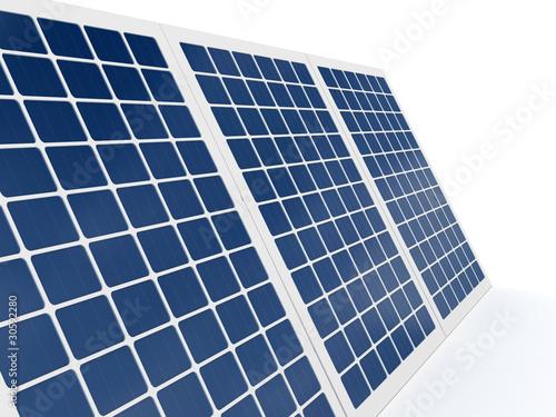 Solar battery over white background