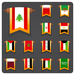 Vertical flags arabian coutries