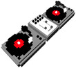 Cartoon style double turntable in 3D pixels