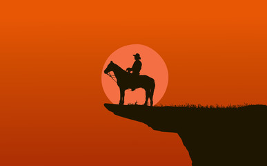 cowboy silhouette in sunrise