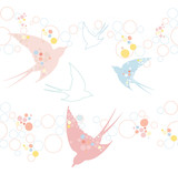 Cute seamless swallow pattern - 30595438