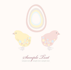 Cute easter chicken and egg background card