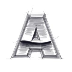 3d metal letters sketch - A. Eps10