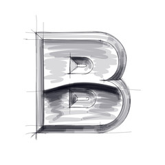 3d metal letters sketch - B. Eps10