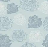 Seamless vintage peony pattern