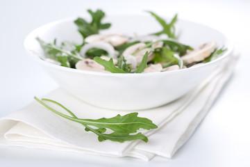Salad with rucola and mushrooms