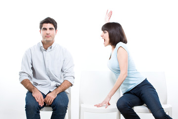 Woman yelling at her man