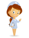 Cute female nurse with tablet notepad chart
