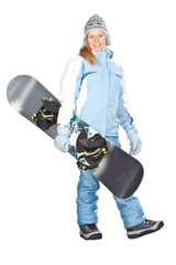 Girl with snowboard.
