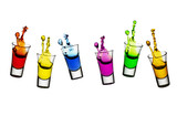 Colorful liqueur spilling from shot glasses