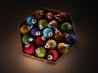 Colorful Christmas ornaments in box