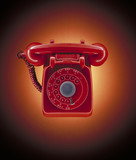 """Close up of red, old-fashioned telephone"""