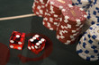 Close up of dice and gambling chips