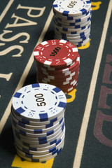 Close up of stacks of gambling chips