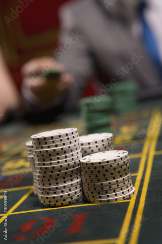 Close up of stack gambling chips