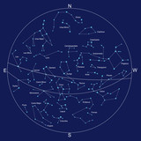 sky map and constellations with titles, vector