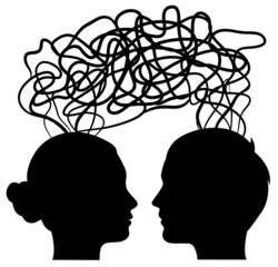 man and woman thinking on same way, idea concept, vector