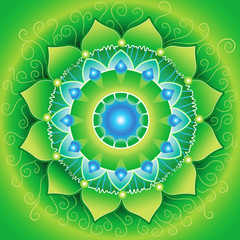bright green mandlala of anahata chakra, vector