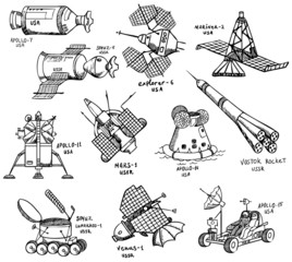 different USA and USSR spacecrafts with titles, vector