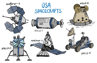 different USA spacecrafts with titles, vector