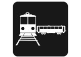 vector illustration depicting icons tram