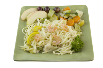 shrimp alfredo noodles on white