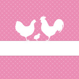 Easter Card Rooster, Hen & Chick Pink